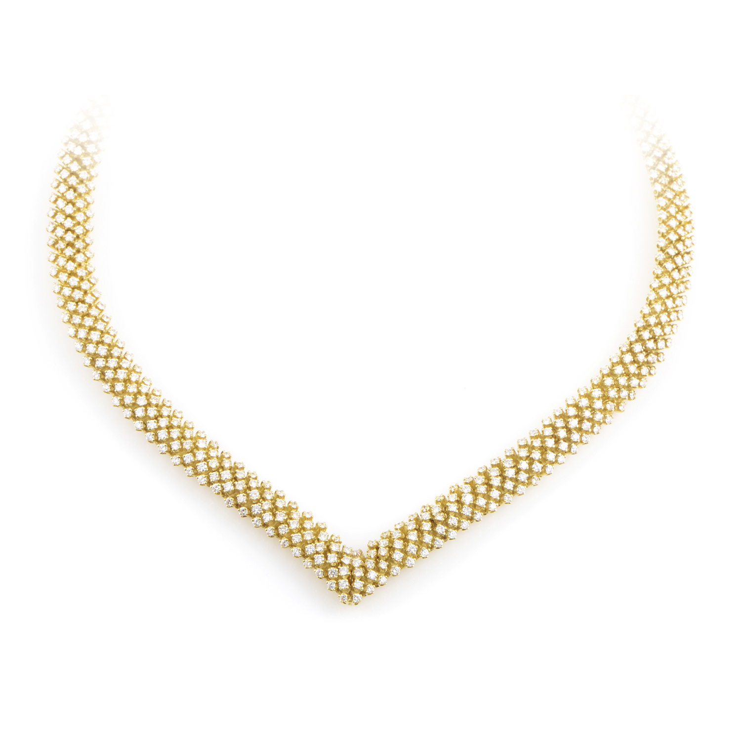 Women's 18K Yellow Gold Full Diamond Pave Collar Necklace CI009