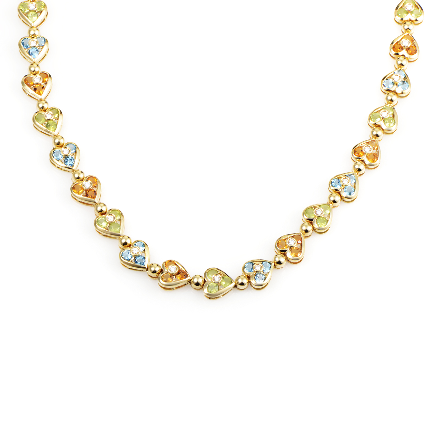 Women's 18K Yellow Gold Diamond & Multi-Gemstone Heart Choker Necklace
