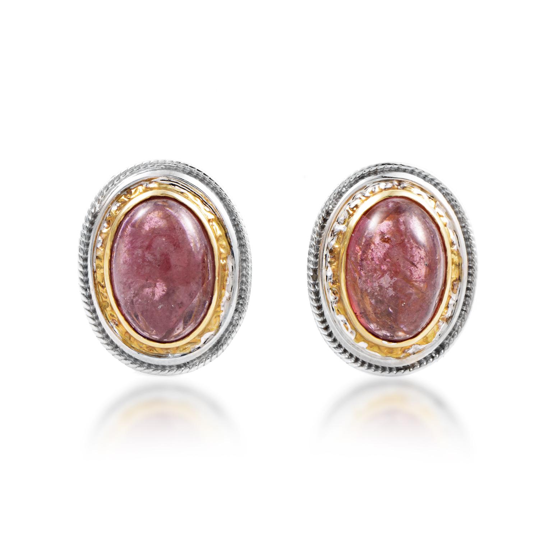 Women's 18K Multi-Tone Gold Pink Tourmaline Huggie Earrings CI313