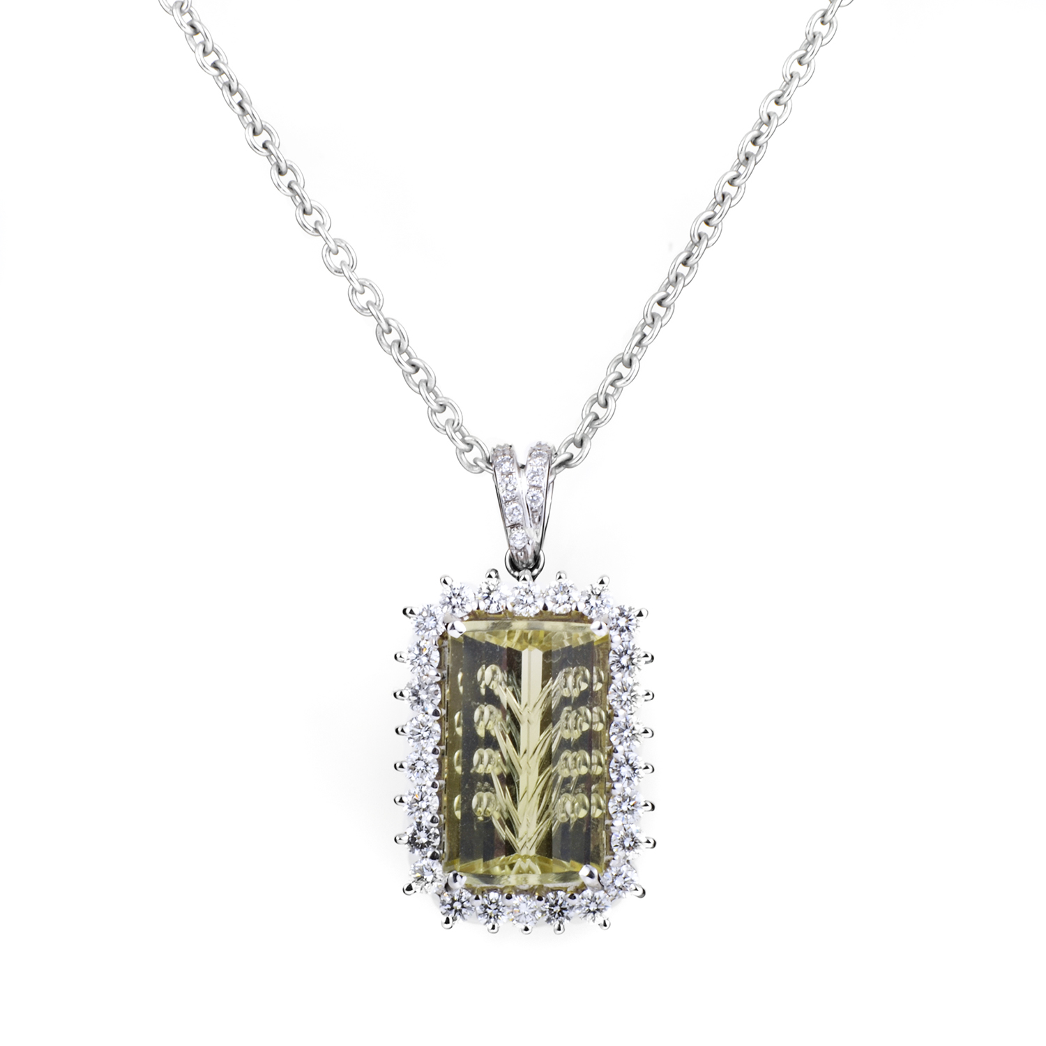 Women's 18K White Gold Diamond & Lemon Quartz Pendant Necklace