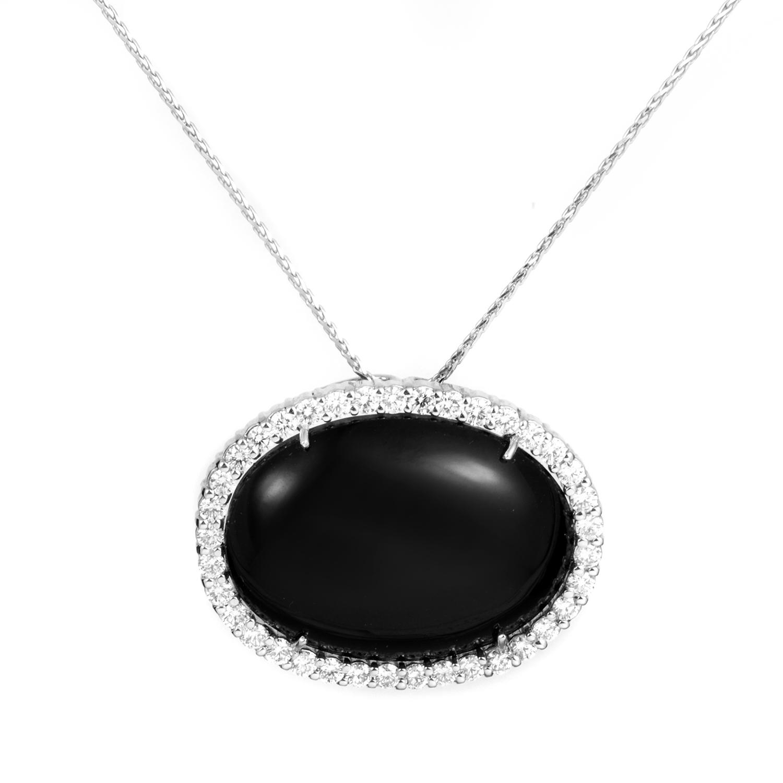 Women's 18K White Gold Diamond & Onyx Pendant Necklace