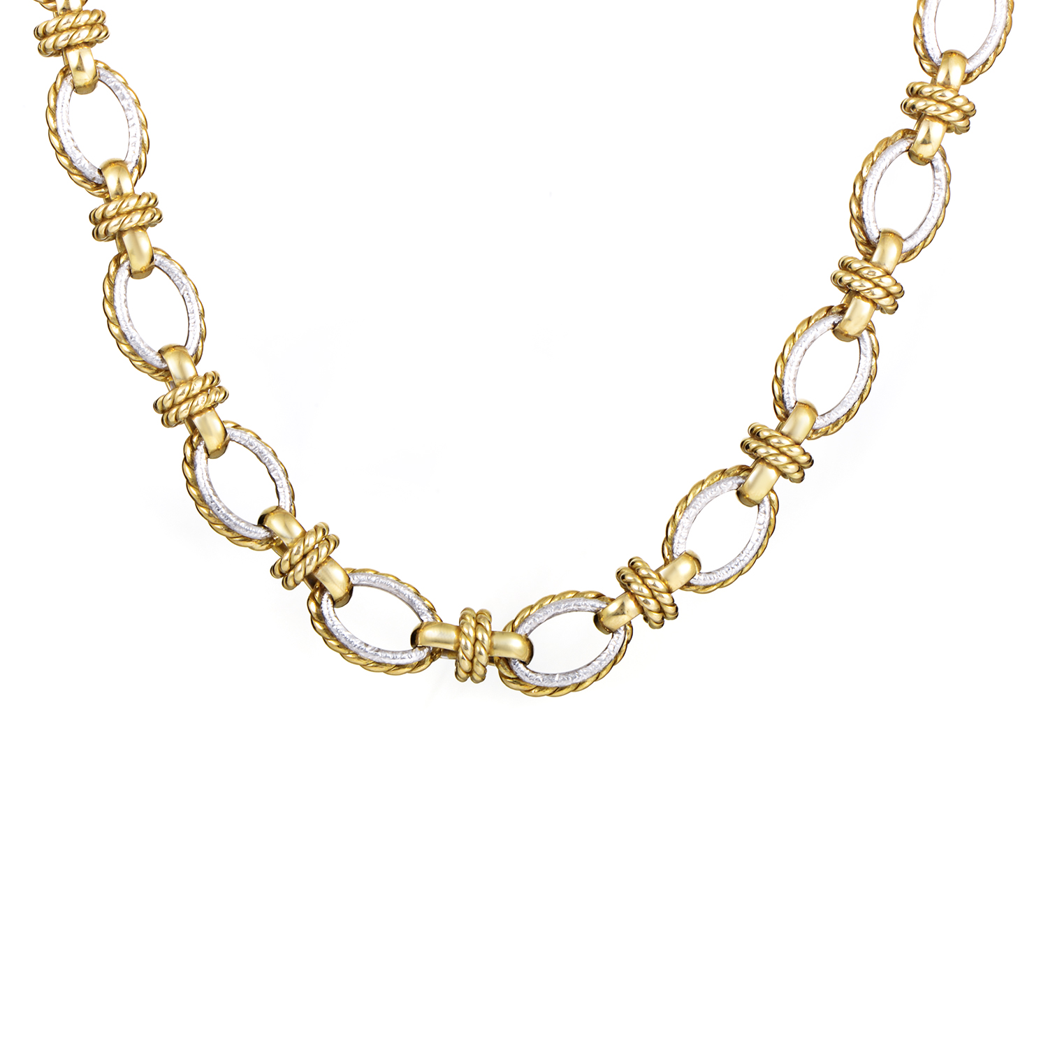 Women's 18K White & Yellow Gold Link Choker Necklace