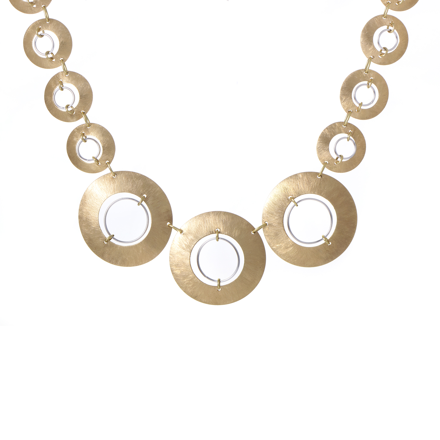 Women's Brushed 18K Yellow & White Gold Discs Collar Necklace