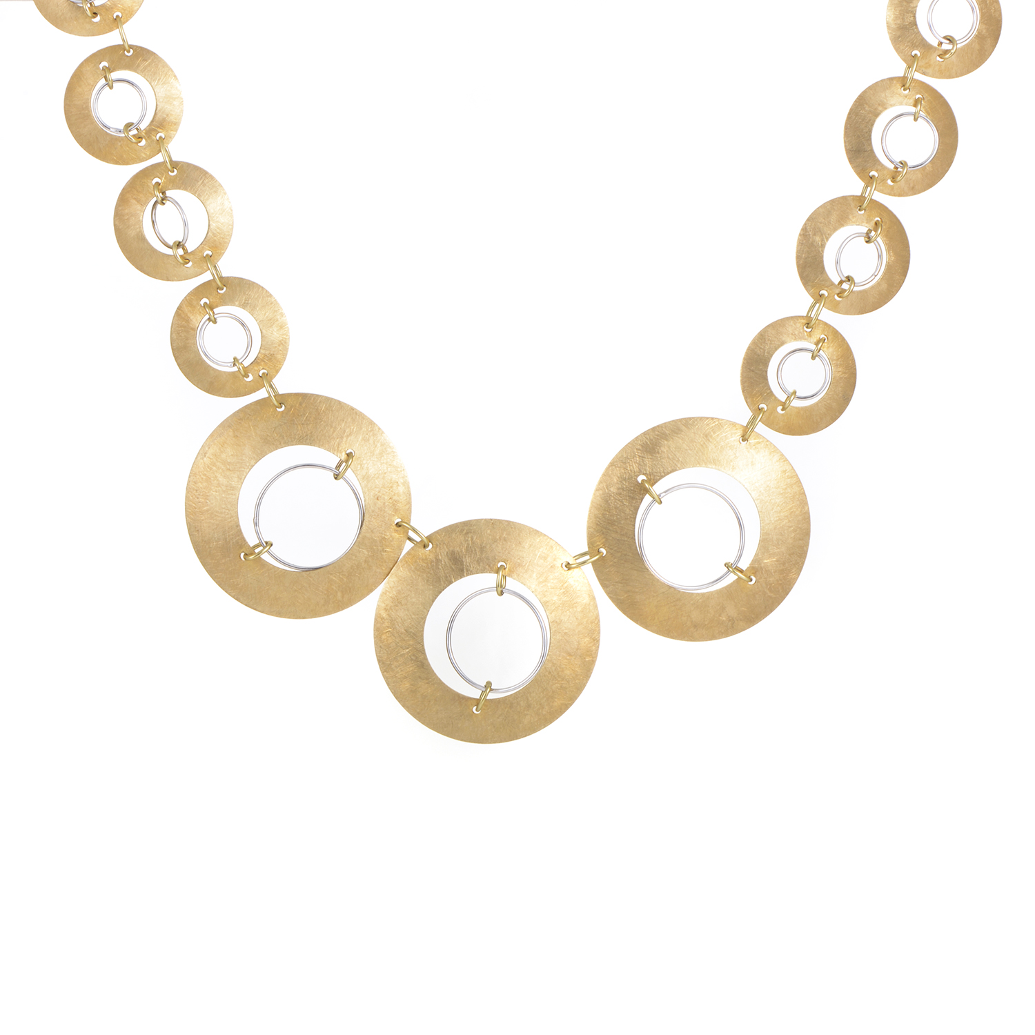 Women's Brushed Gemstone & 18K Yellow & White Gold Discs Collar Necklace