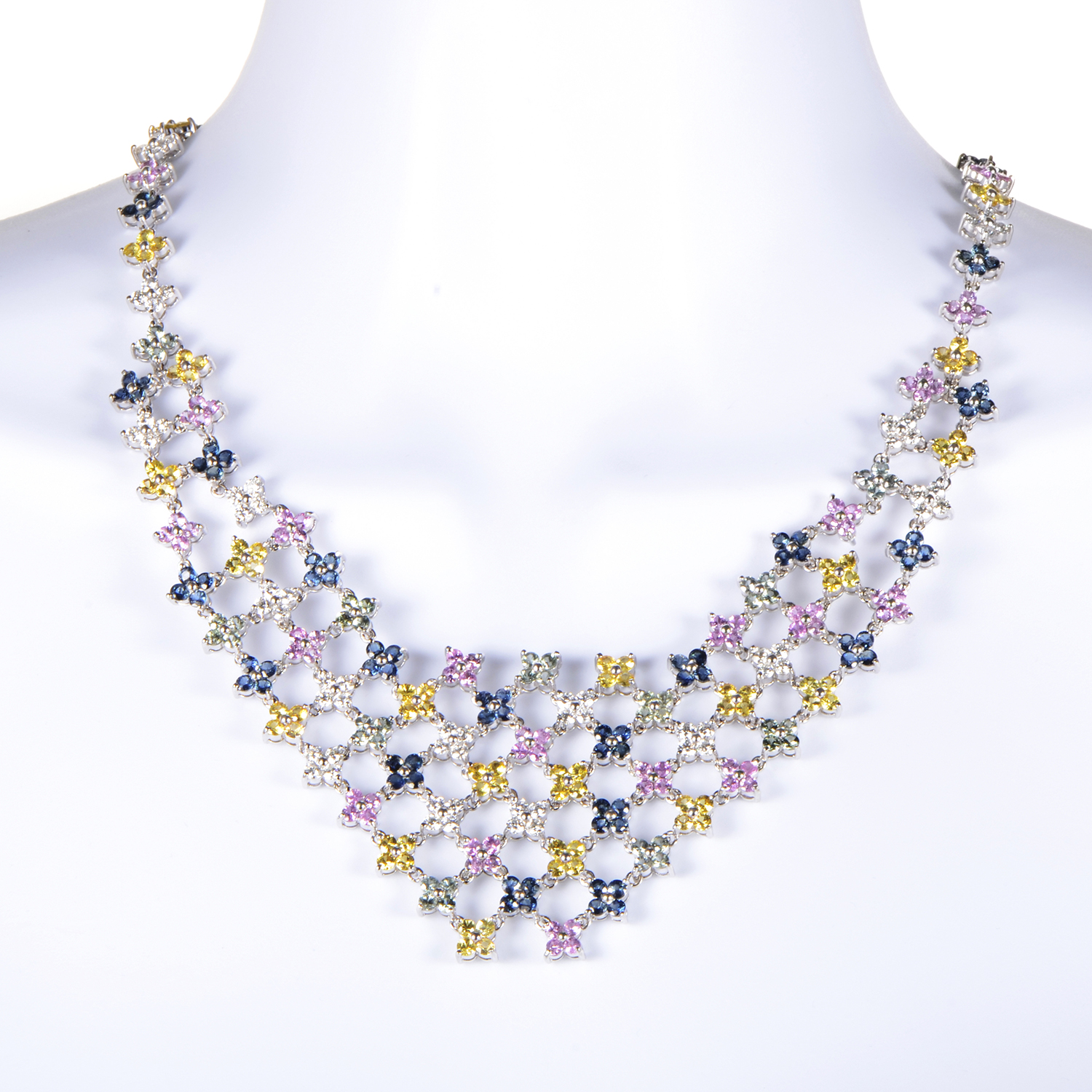Women's 18K White Gold Diamond & Multi-Sapphire Bib Necklace