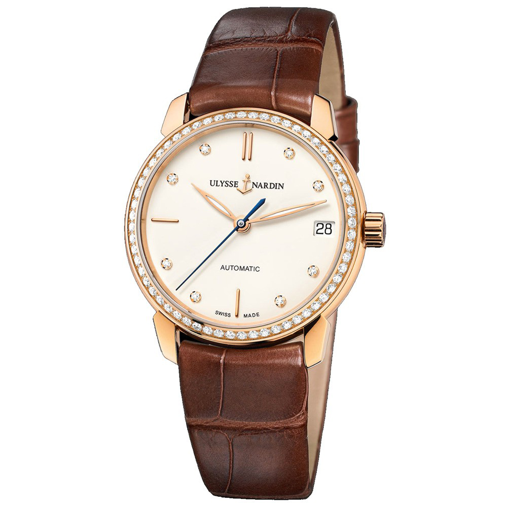 Classico Lady (RG-Diamonds / Eggshell-Diamonds / Leather Strap)