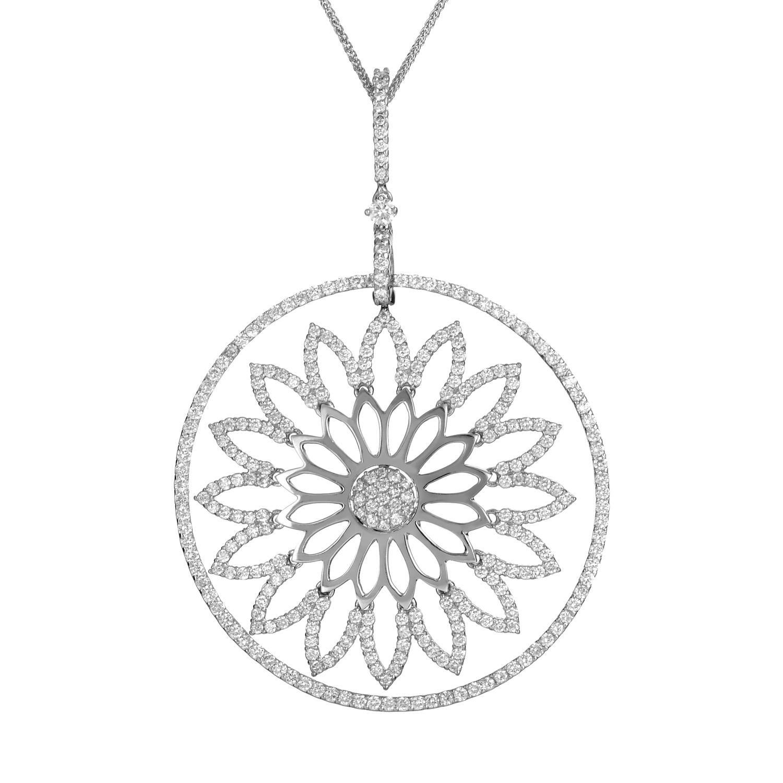 Women's 18K White Gold Diamond Daisy Pendant Necklace 21990742