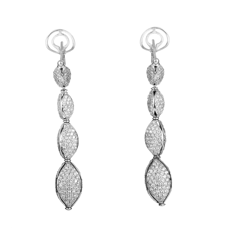 18K White Gold Diamond Pave Drop Earrings