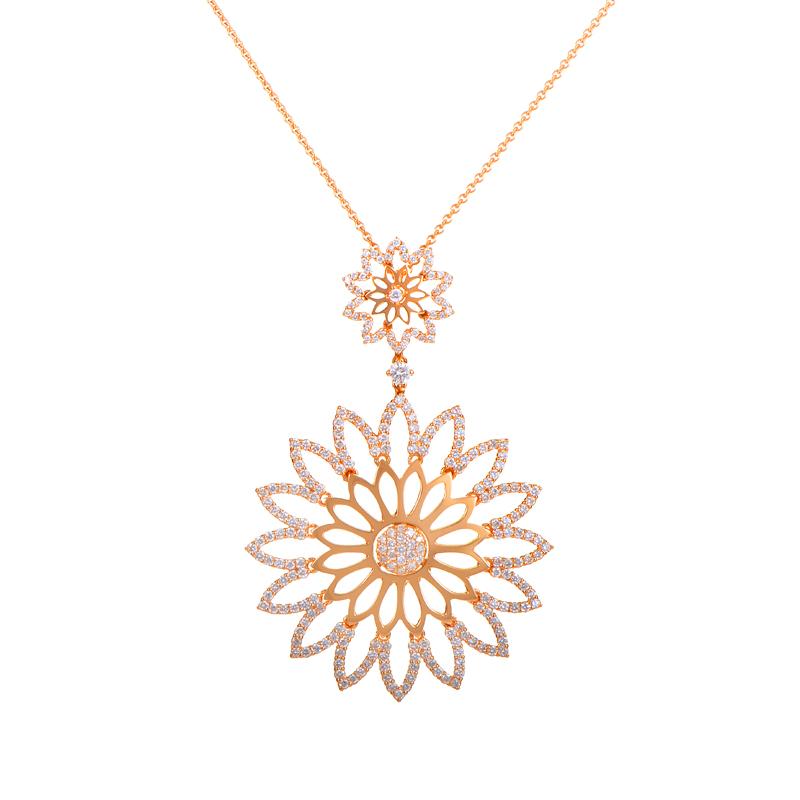 18K Rose Gold Diamond Flowers Pendant Necklace LBD-13461R