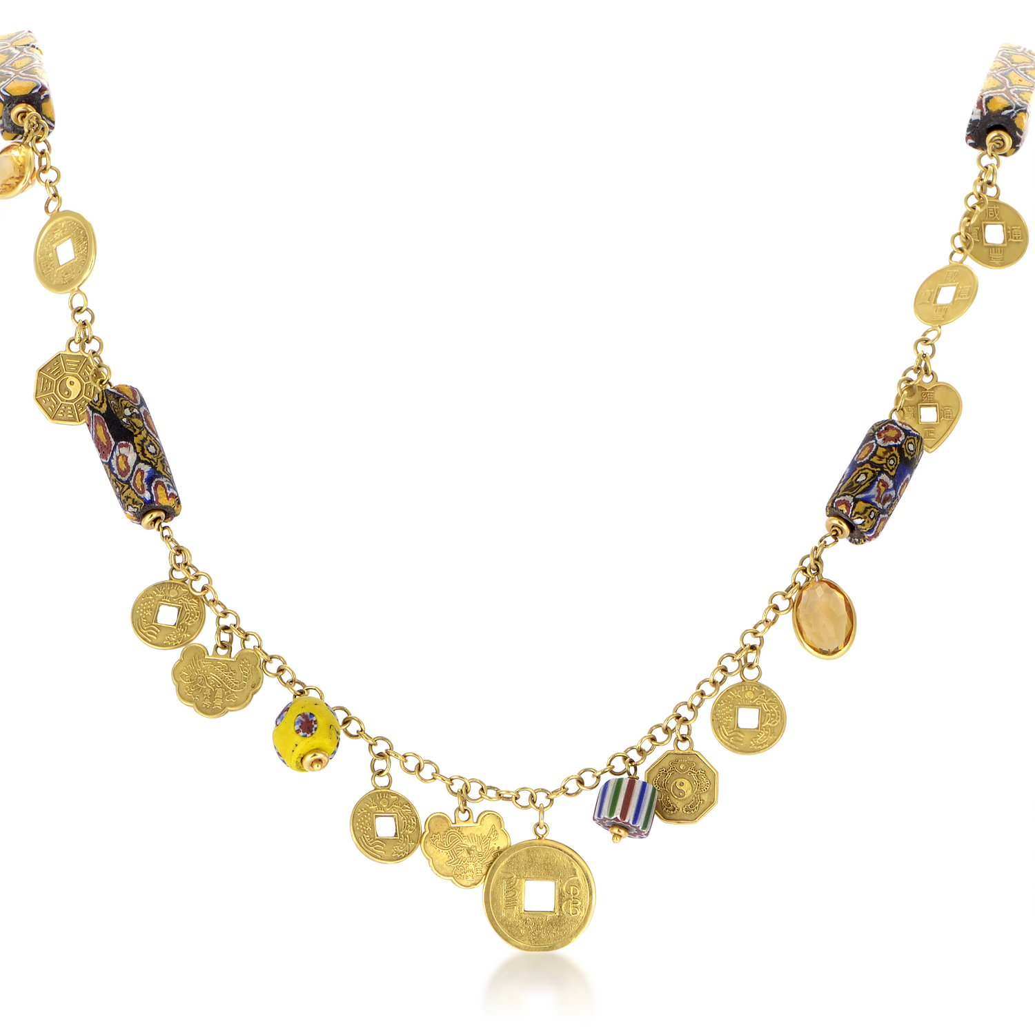 Dada Women's 18K Yellow Gold Chinese Coin & Citrine Beaded Necklace