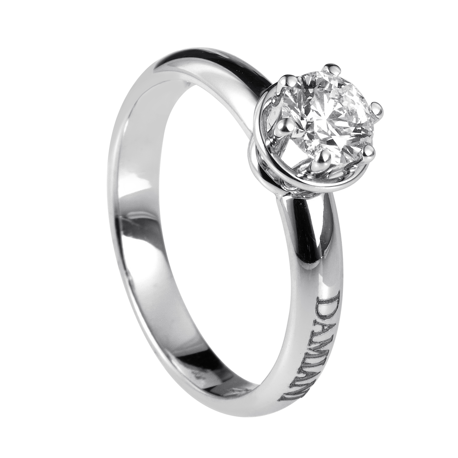 Minou 18K White Gold .50ct Diamond Solitaire Engagement Ring