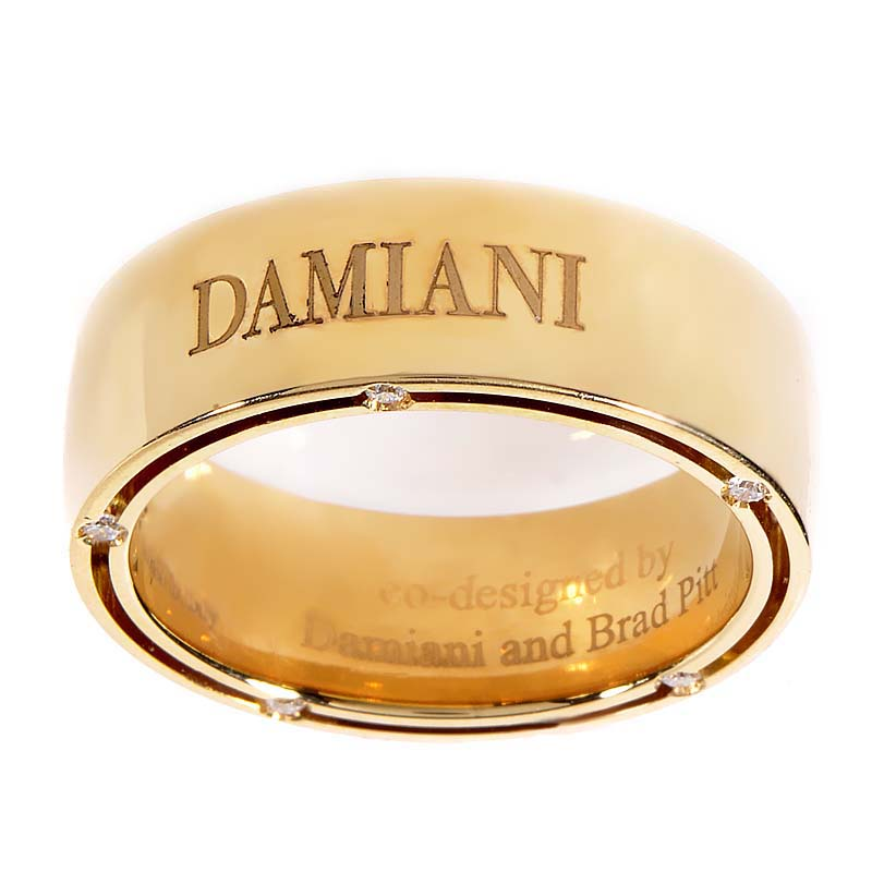 D.Side Brad Pitt 18K Yellow Gold Diamond Band Ring 20016618