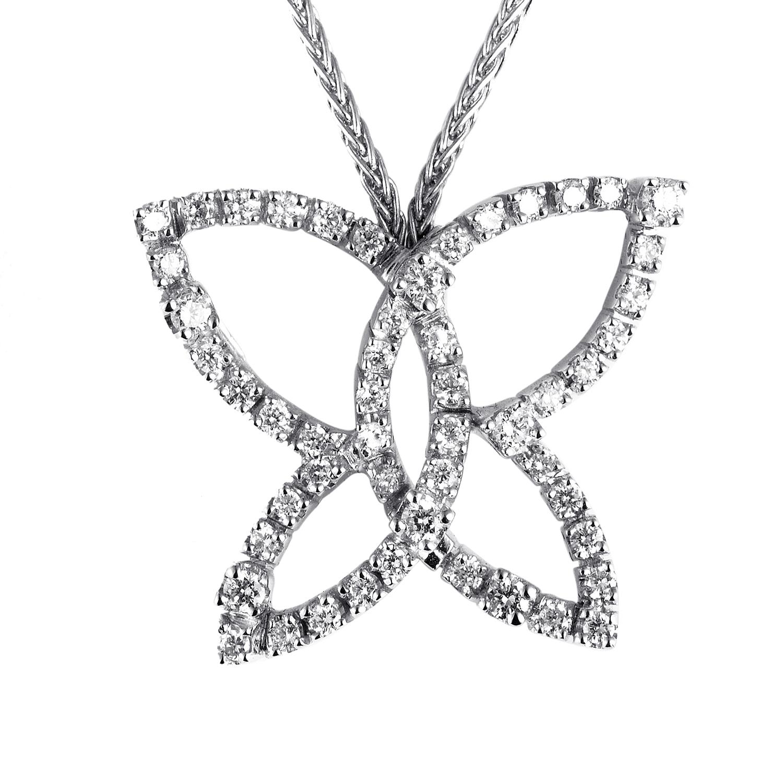 18K White Gold Diamond Butterfly Pendant Necklace 20016999