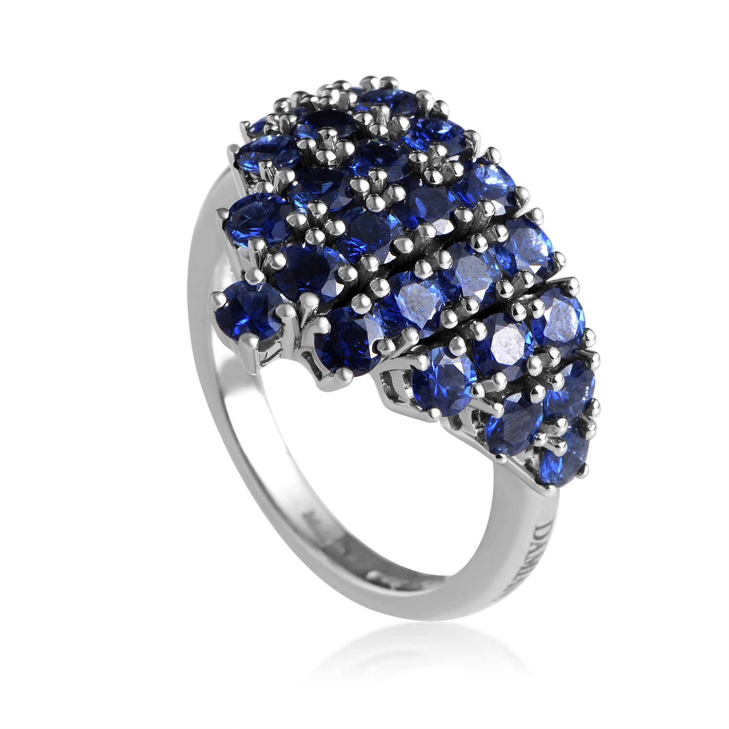 18K White Gold Sapphire Blue Pave Ring 20017430