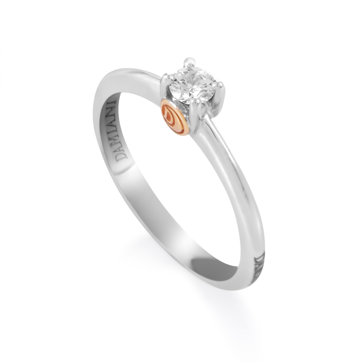18K Multi-Gold Diamond Solitaire Engagement Ring