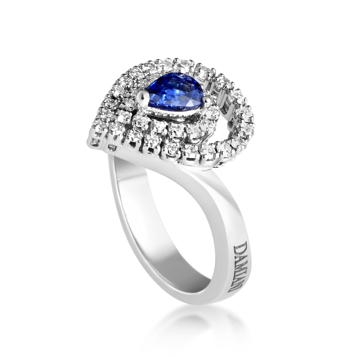 Womens 18K White Gold Diamond Pave and Sapphire Ring