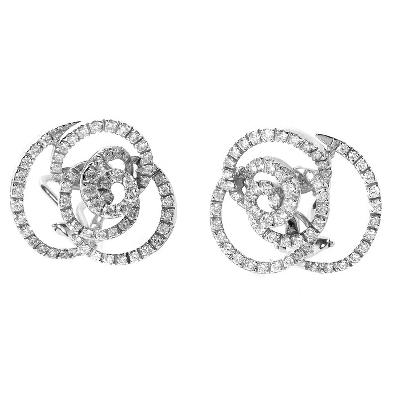 Bocciolo 18K White Gold Diamond Swirl Earrings 20020638