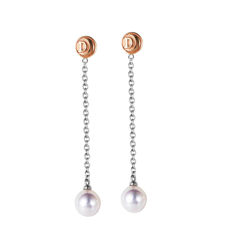 18K Multi-Tone Gold & Pearl Dangle Earrings 20021309