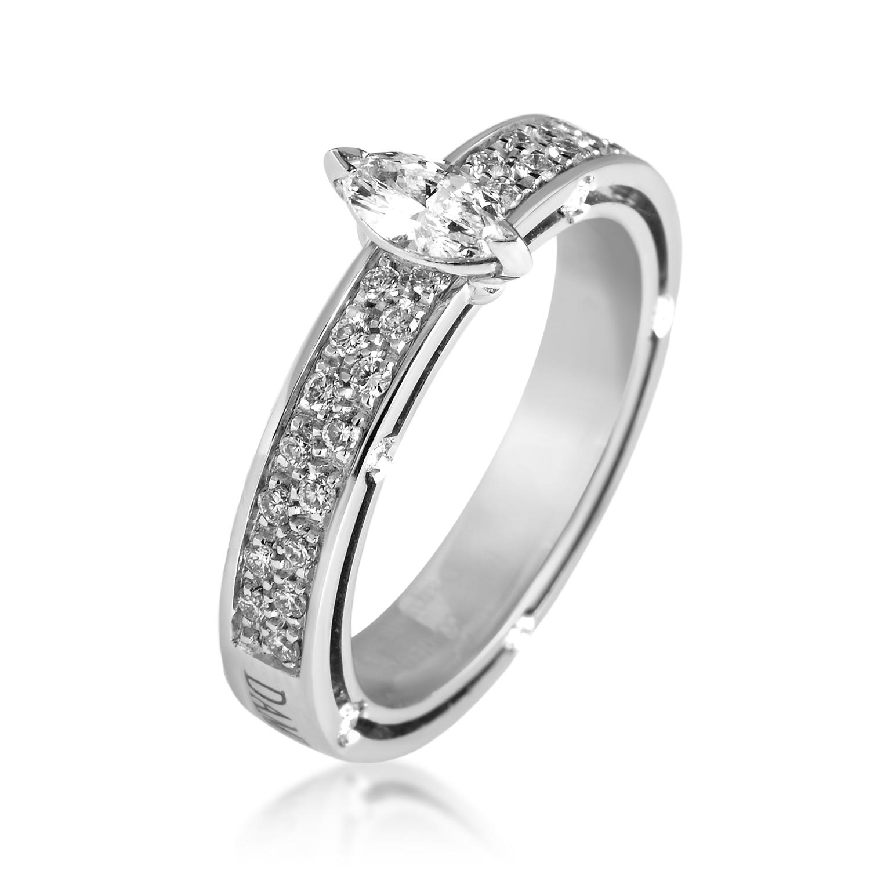 D.Side Brad Pitt 18K White Gold Diamond Engagement Ring 20022774
