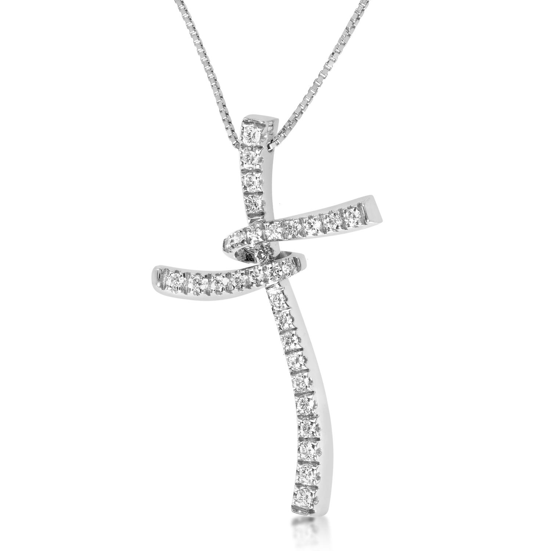 18K White Gold Twisting Diamond Cross Necklace 20024482