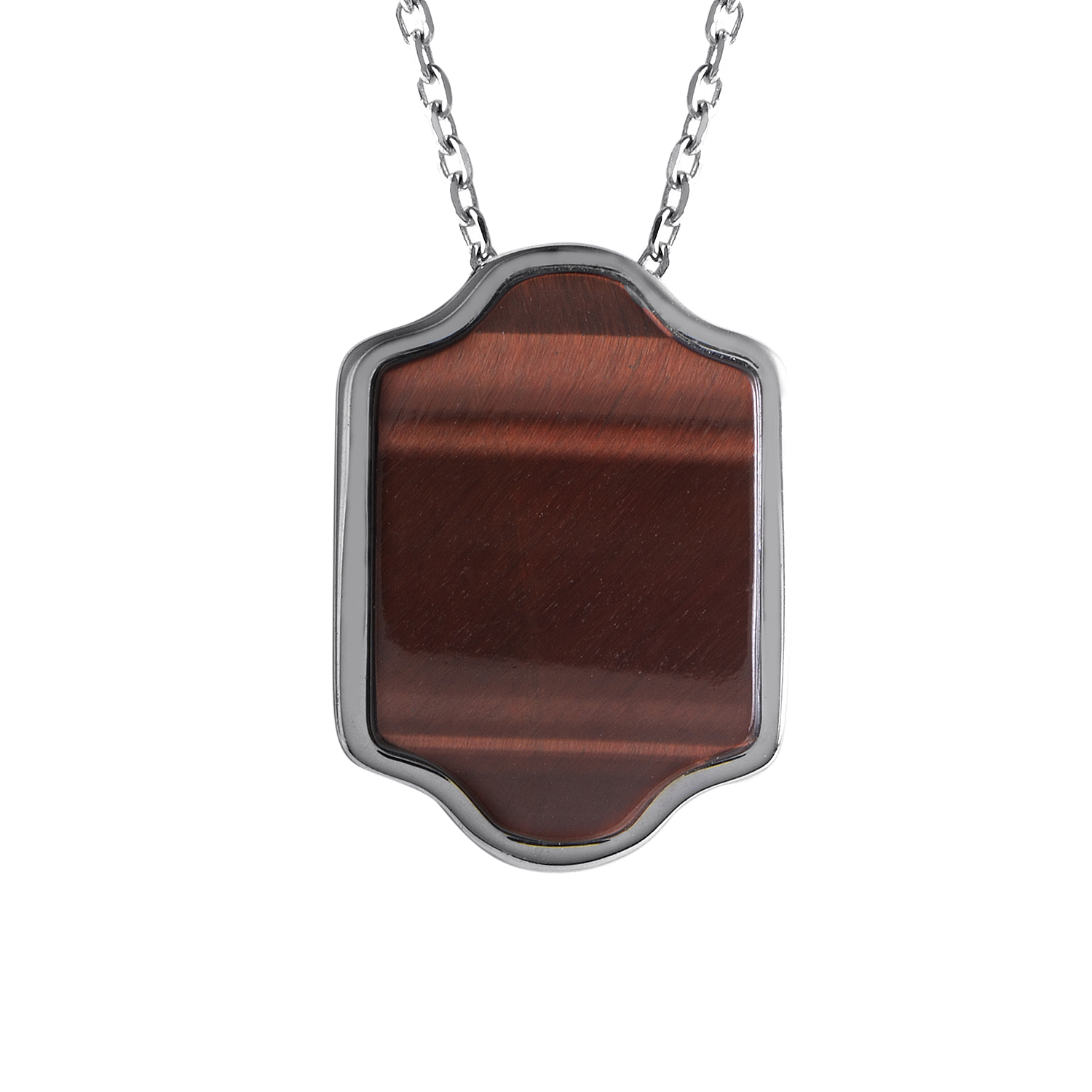 Colonial 18K White Gold Tiger's Eye Pendant Necklace