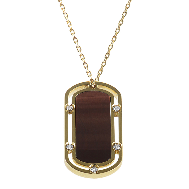 D.Side Brad Pitt 18K Yellow Gold Tiger's Eye & Diamond Dog Tag Pendant Necklace