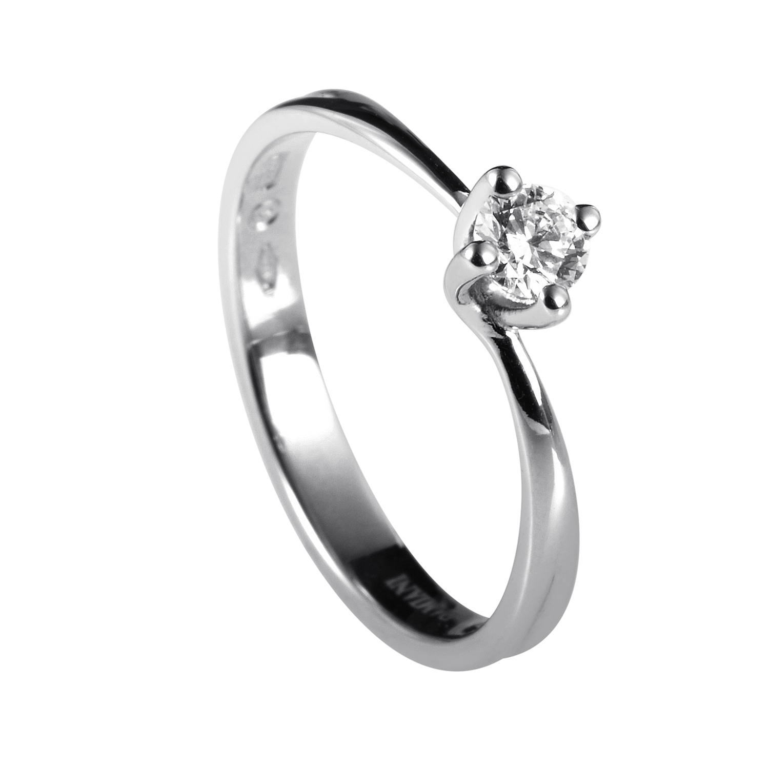 Beauty 18K White Gold .20ct Diamond Solitaire Engagement Ring