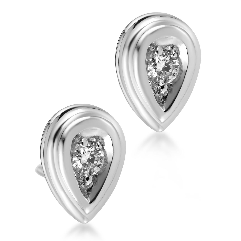 18K White Gold Diamond Teardrop Stud Earrings 80027255