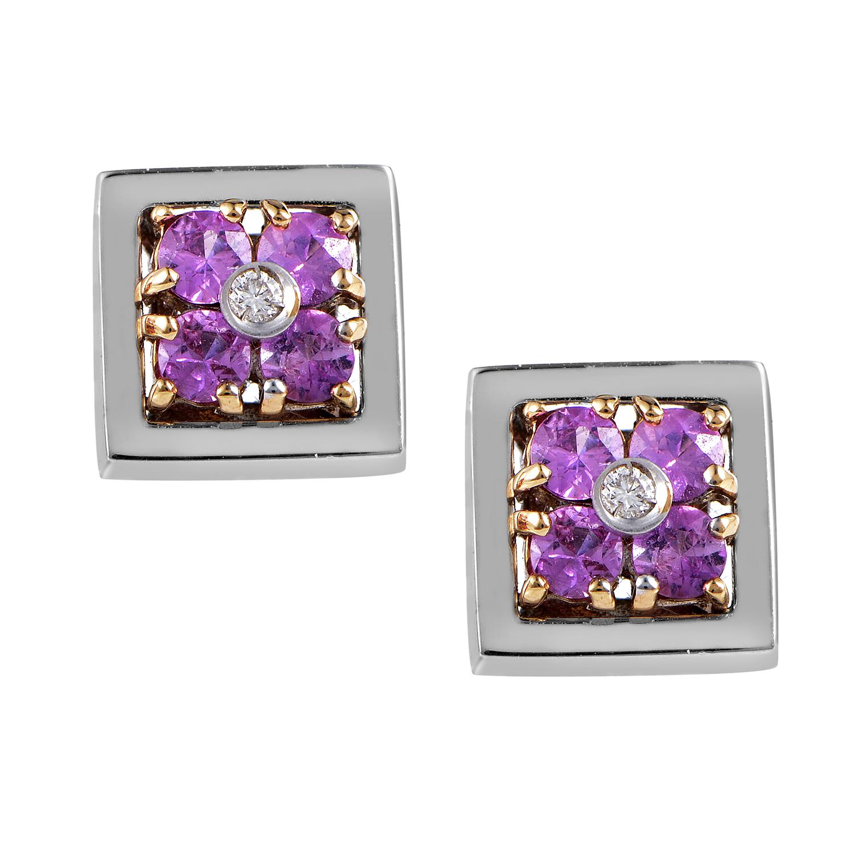 18K Multi-Tone Gold Diamond & Pink Sapphire Flower Stud Earrings