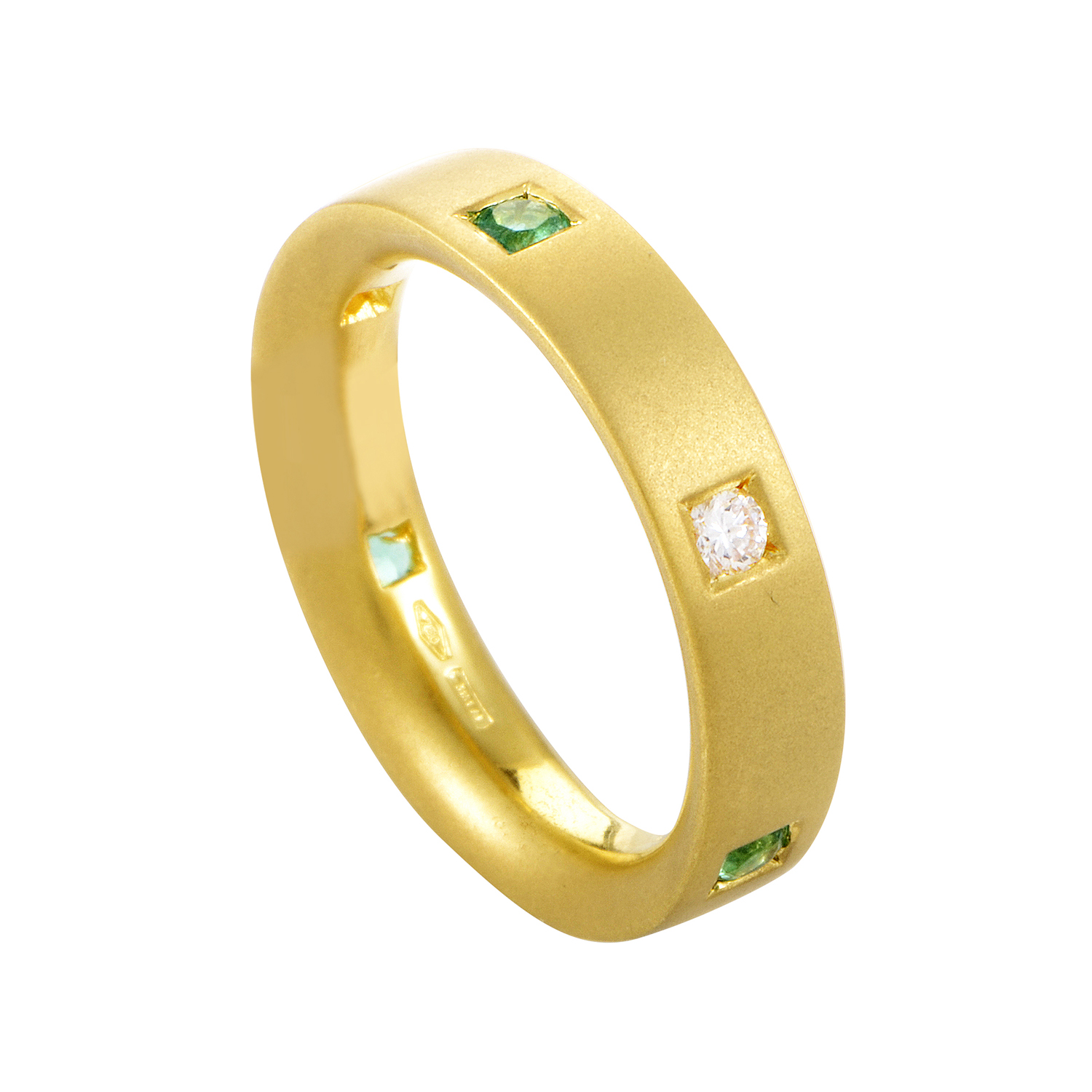 Damiani 18K Yellow Gold Diamond & Emerald Band Ring AK1B1005