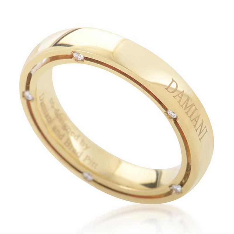 D.Side Brad Pitt 18K Yellow Gold Diamond Band Ring 20008621