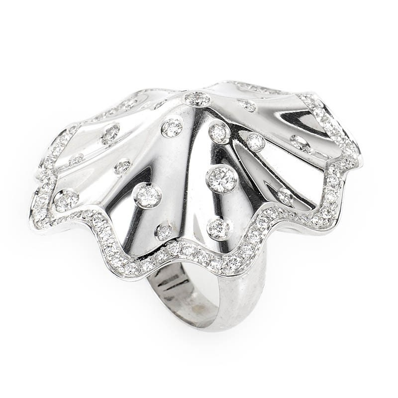 18K White Gold Diamond Umbrella Ring