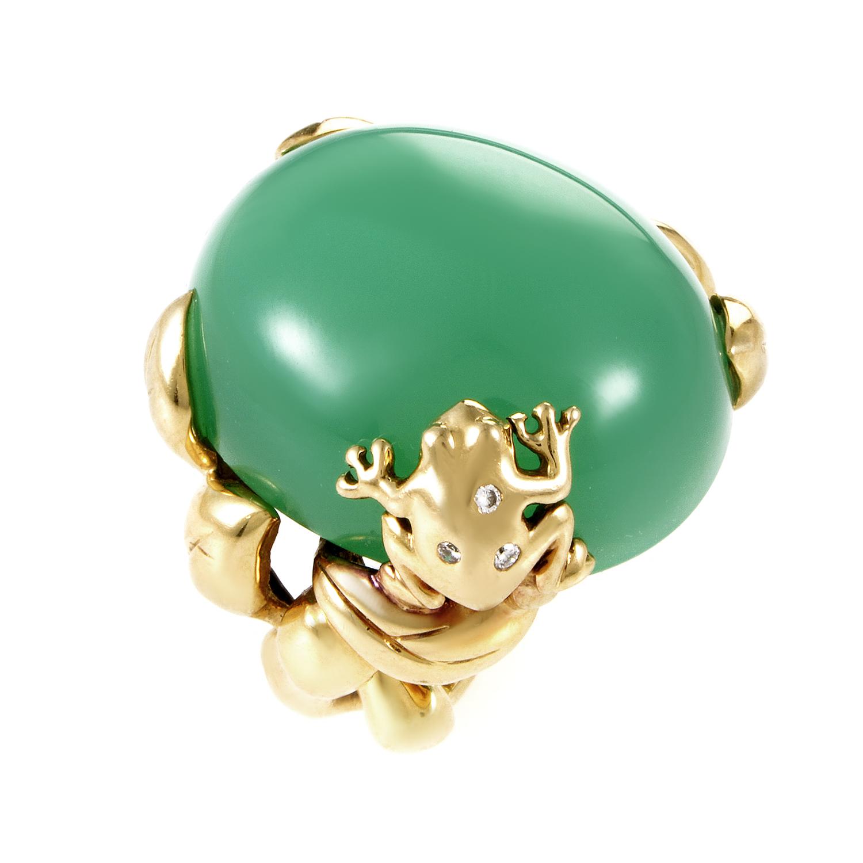 Dior 18K Yellow Gold Diamond & Chrysoprase Ring