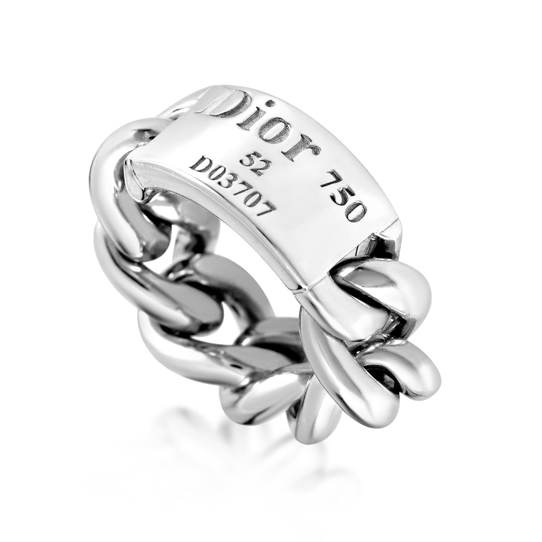 Dior Gourmette de Dior Women's 18K White Gold Chain Ring AK1B2737