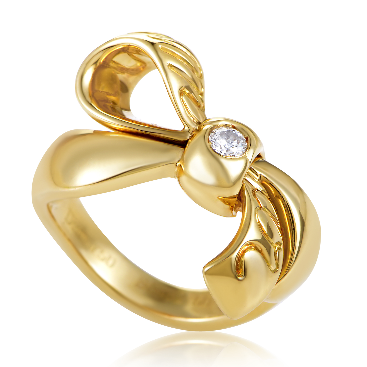 Dior Womens 18K Yellow Gold Diamond Solitaire Bow Ring