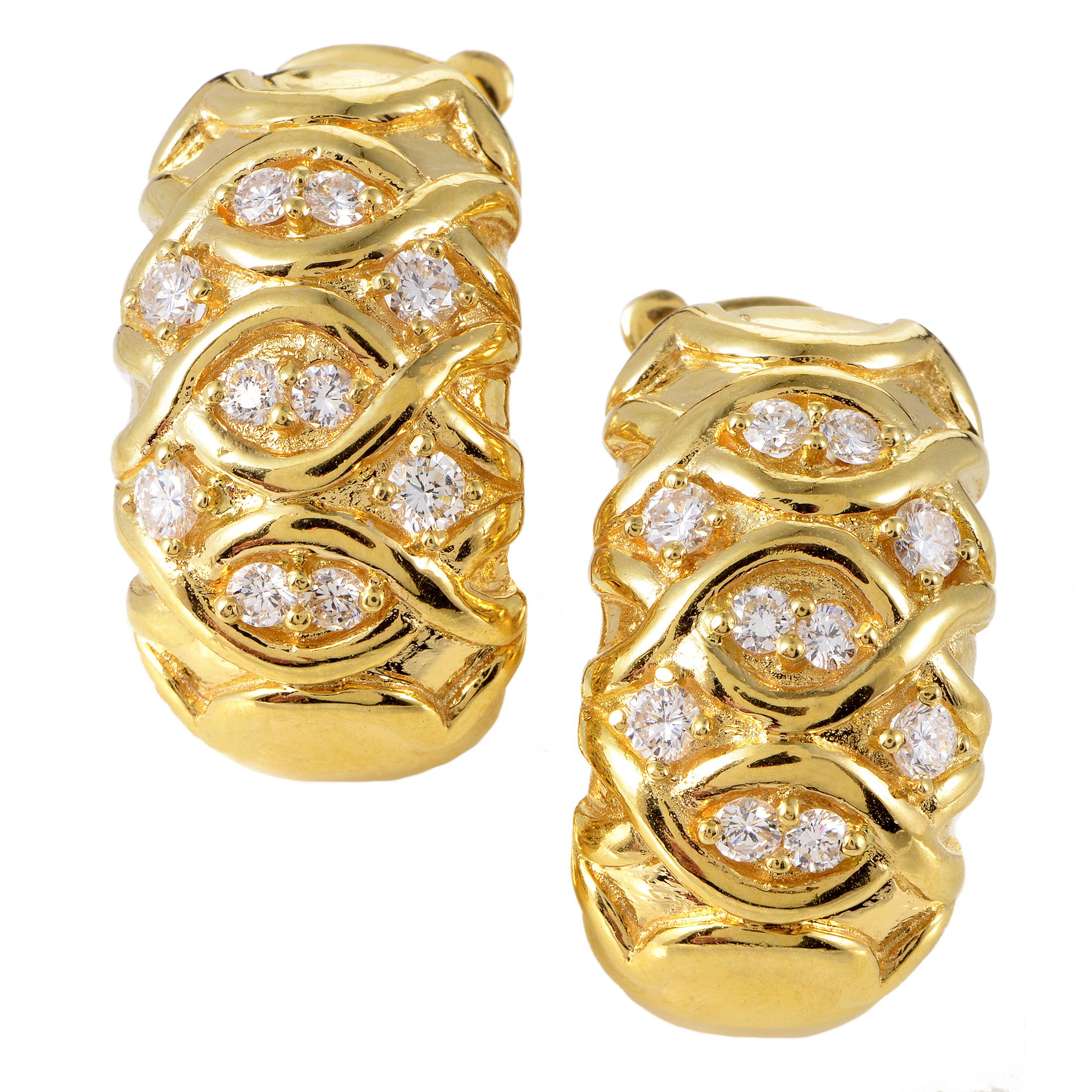 Dior Women's 18K Yellow Gold Diamond Clip-on Earrings