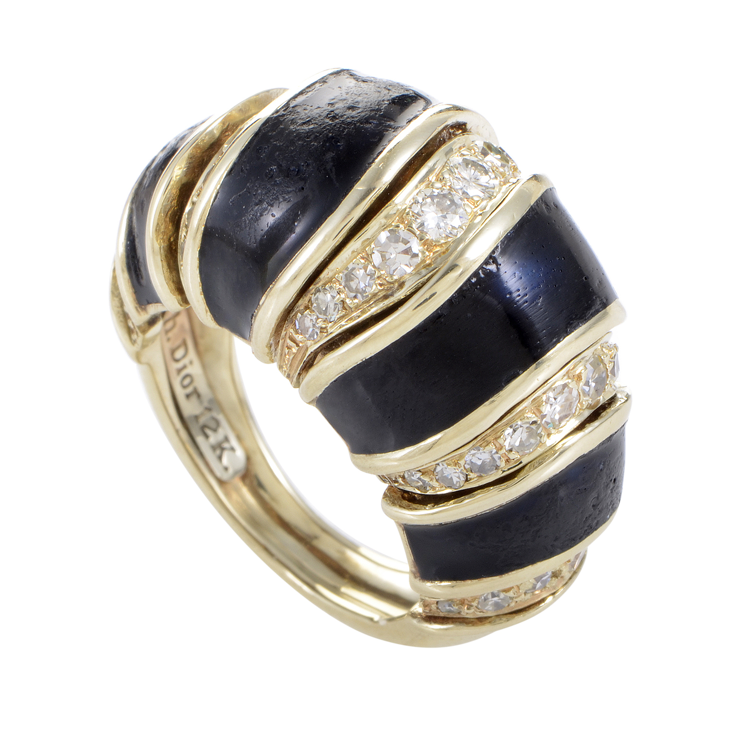 Dior Women's Black Enameled 12K Yellow Gold Diamond Bombe Ring