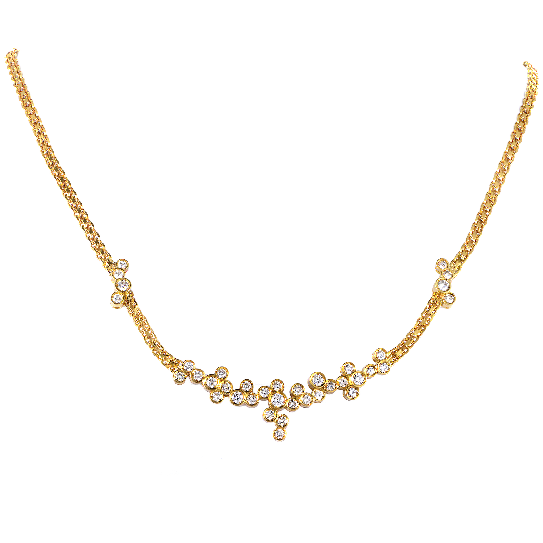 Dior Women's 18K Yellow Gold Diamond Cluster Necklace