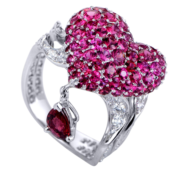 Cupidon Women's 18K White Gold Diamond & Ruby Heart Ring