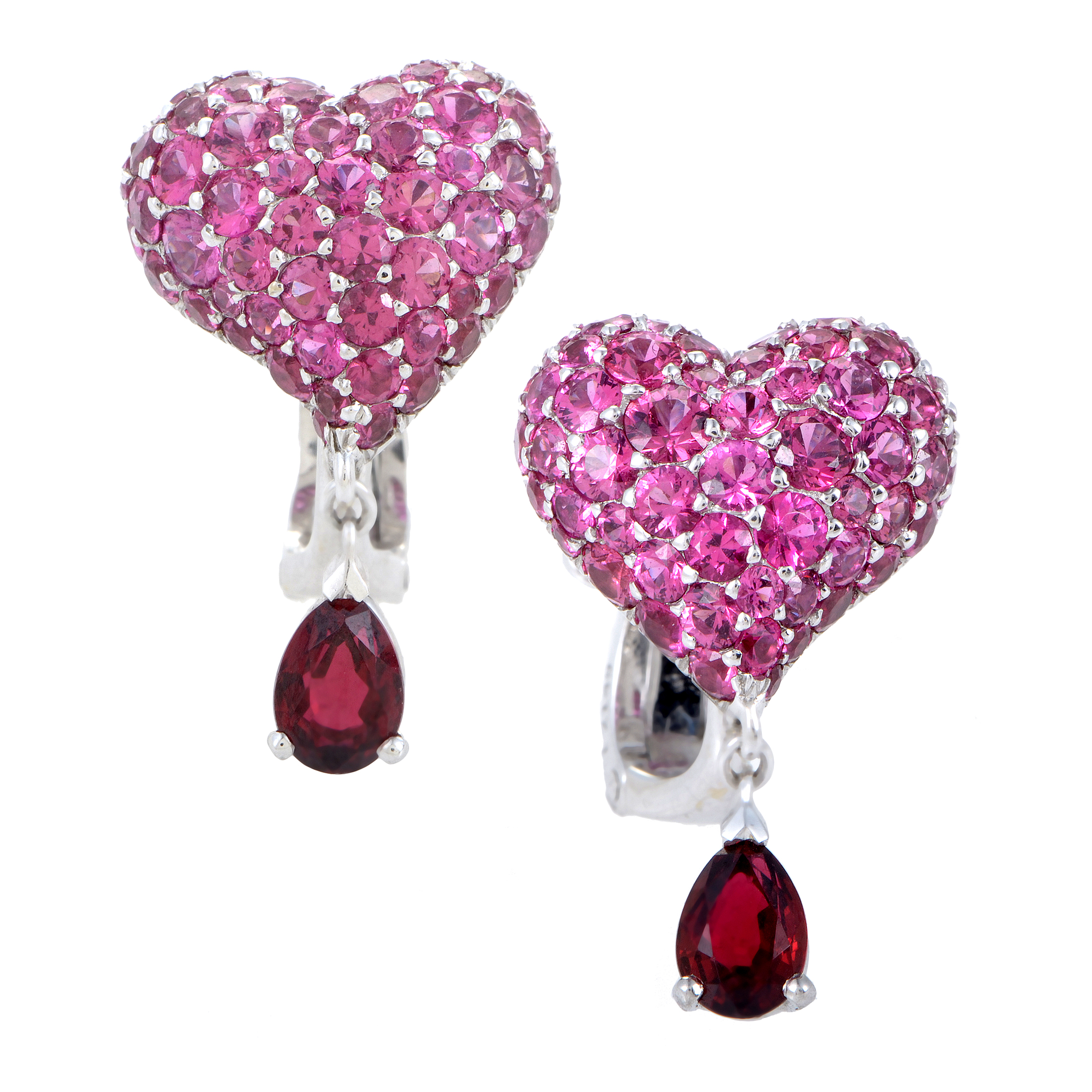 Cupidon Women's 18K White Gold Ruby Pave Heart Earrings