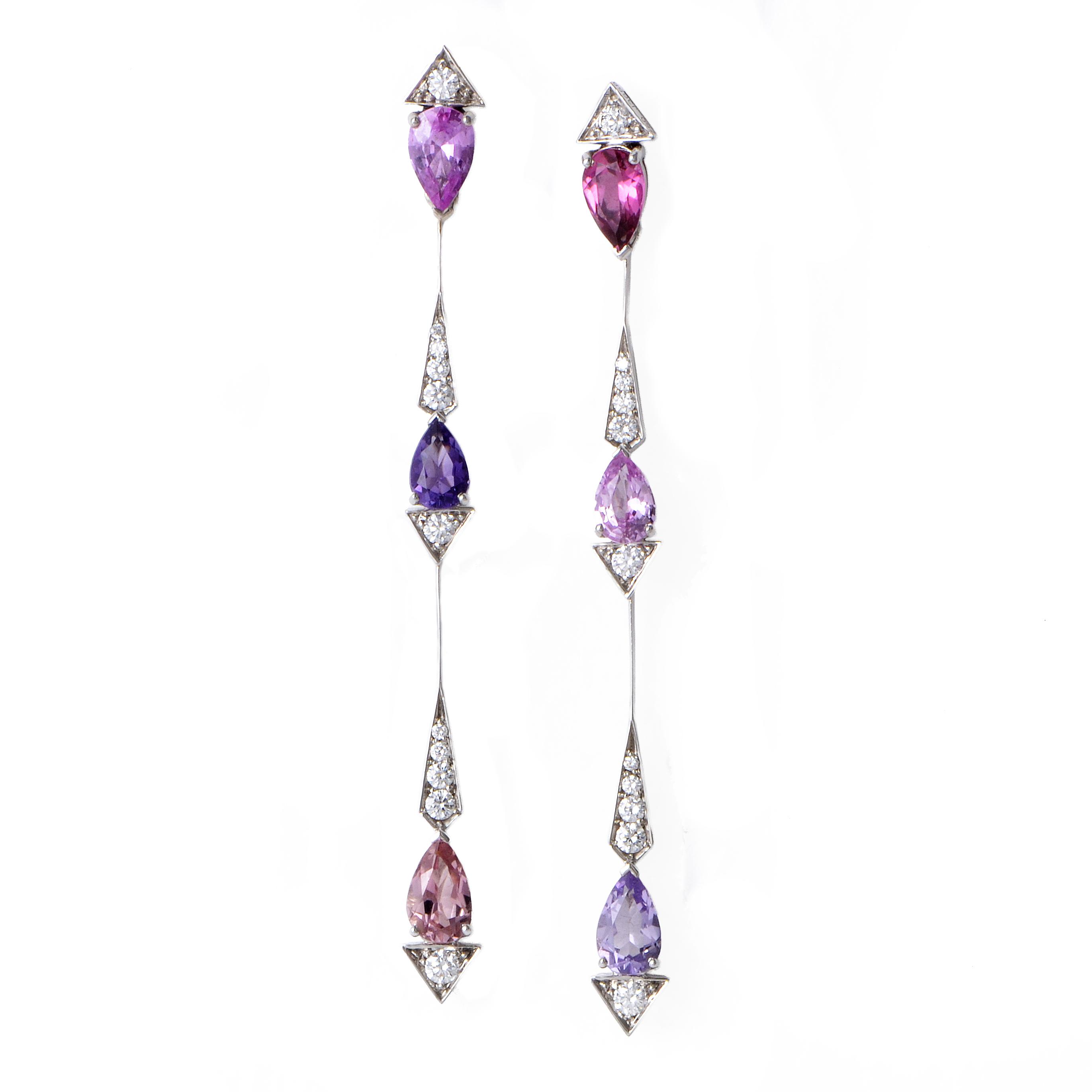 Pluie d'Été Women's 18K White Gold Diamond & Multi-Gemstone Drop Earrings