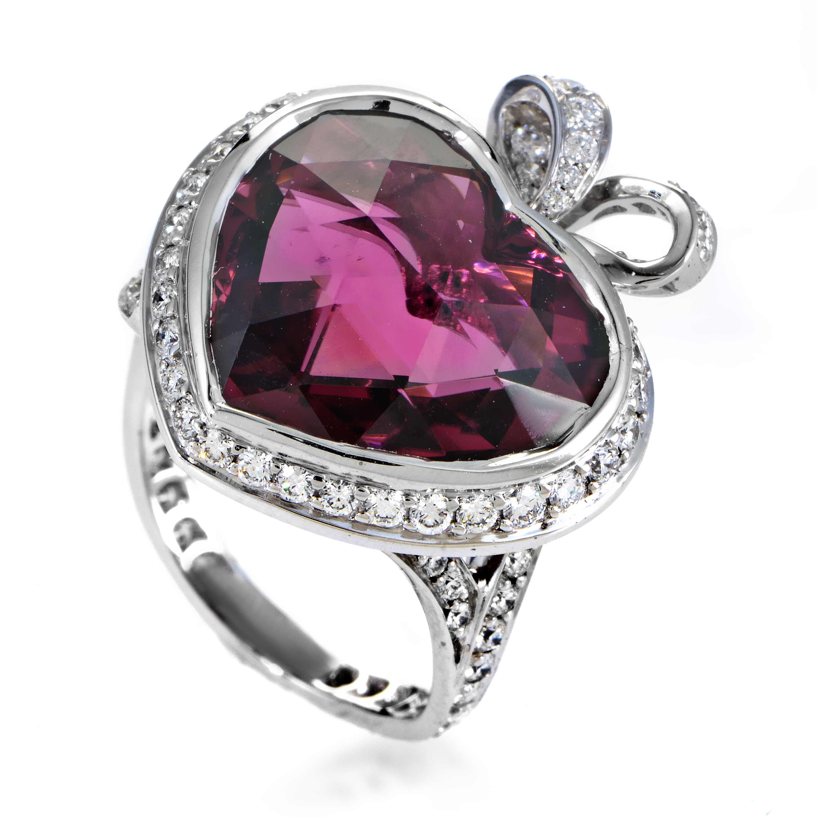 Coeur Romantique Women's 18K White Gold Diamond & Pink Tourmaline Ring