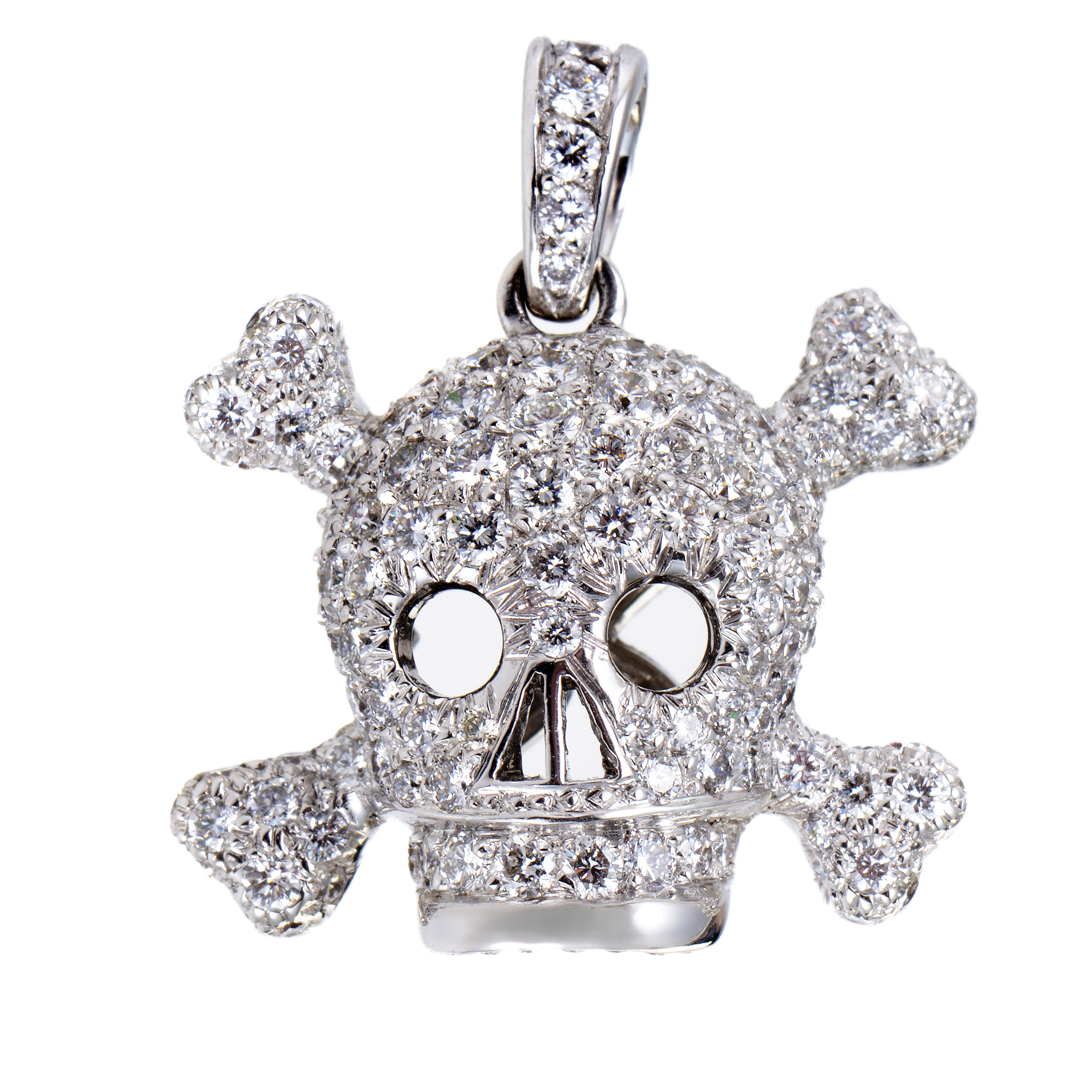 Tête de Mort Women's 18K White Gold Diamond Pave Pendant