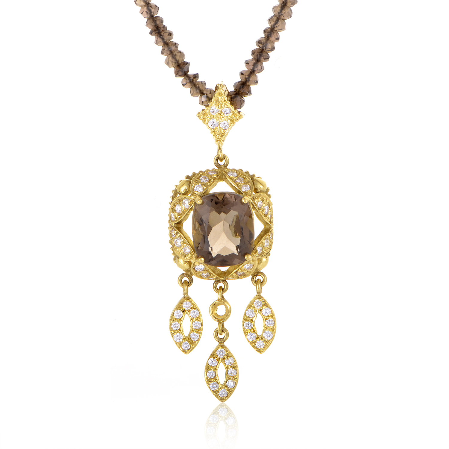 Doris Panos 18K Yellow Gold Smokey Topaz and Diamond Pendant Necklace