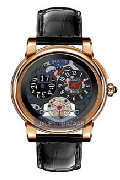 Dimier Recital 5 46 Tourbillon and Big Date (RG / Openwork / Leather)