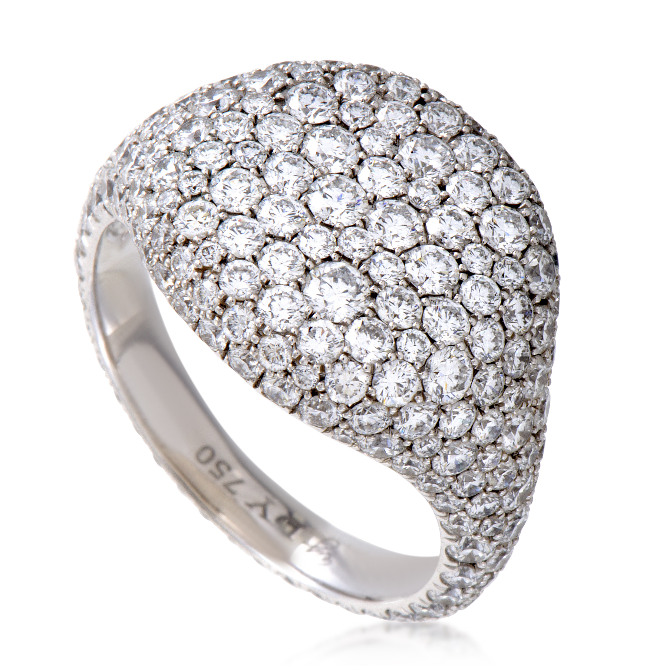 David Yurman Womens 18K White Gold Diamond Pave Pinky Ring