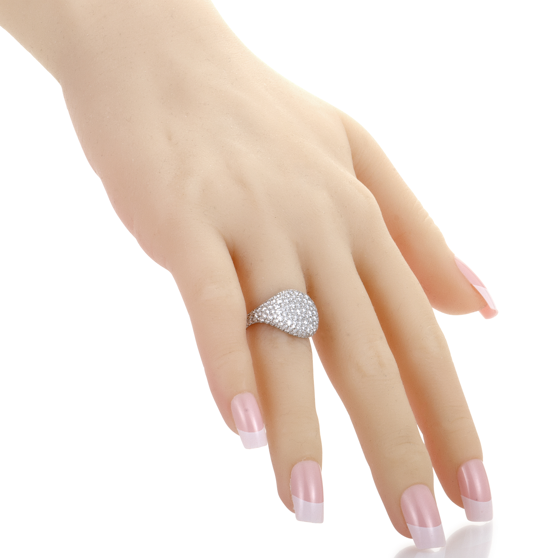 David Yurman Womens 18K White Gold Diamond Pave Pinky Ring