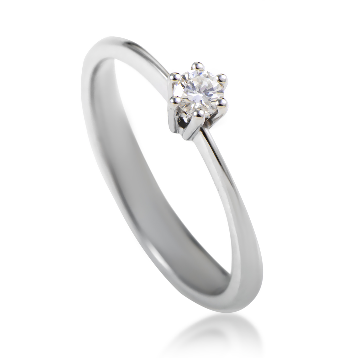 Abete 18K White Gold .14ct Diamond Solitaire Engagement Ring