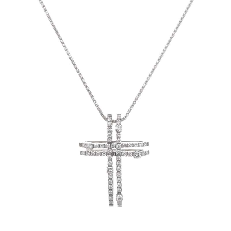 Notte di San Lorenzo 18K White Gold Diamond Pave Crucifix Pendant Necklace 20007791