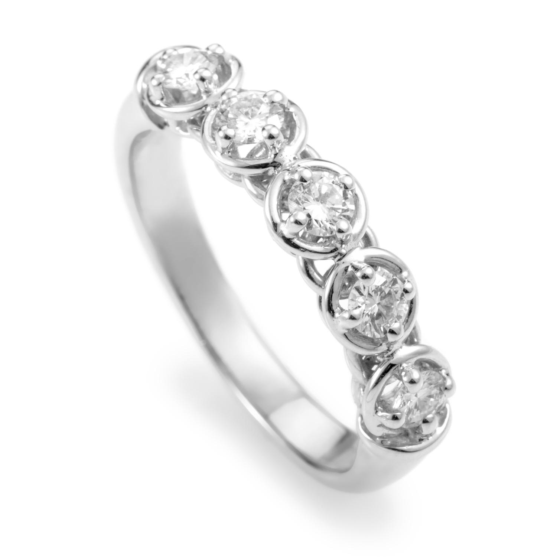 Moon Drops 18K White Gold Diamond Band Ring 20008002